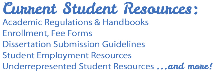 Image of text, current student resources.